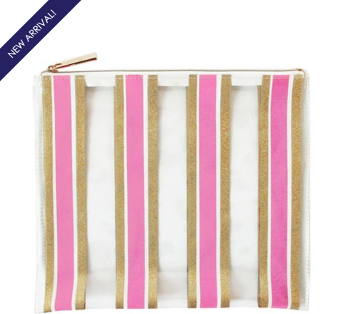 Pink and Gold Glitter Striped Pouch