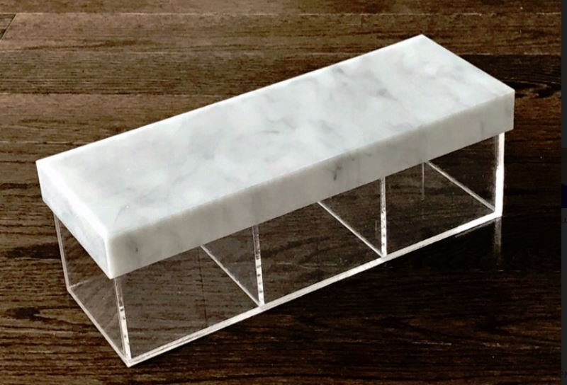 Marble Lucite Rectangle 3 Section Dish