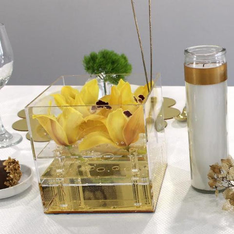 Gold Mirrored 9 Rose Flower Box