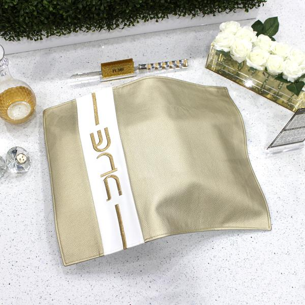 Vertical Gold Leather Challah Cover