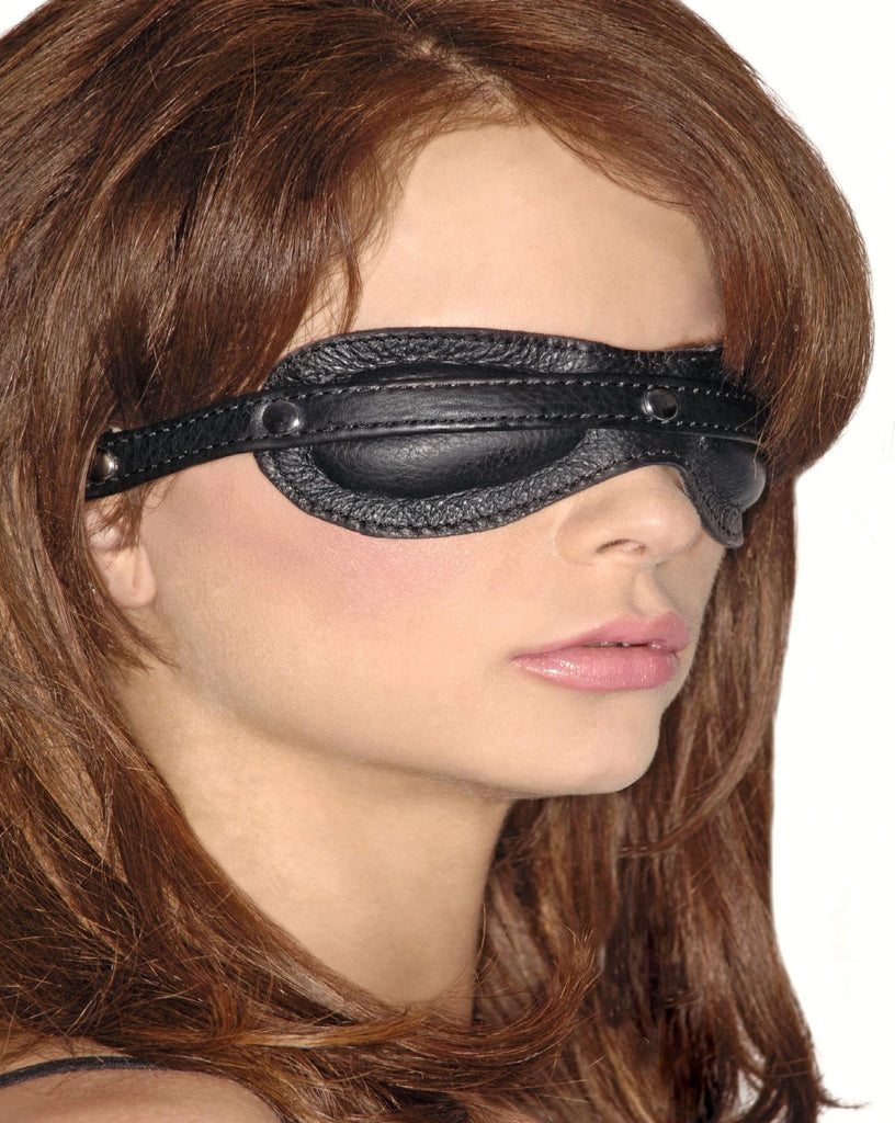 Blacked Out Padded Leather Blindfold