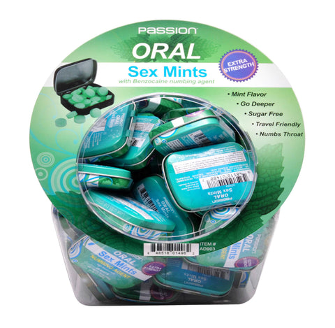 Oral Sex Mints with Numbing Agent Retail Fishbowl Display- 60 Piece Display