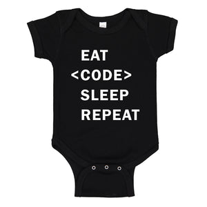 Baby Onesie Eat Code Sleep Repeat 100% Cotton Infant Bodysuit
