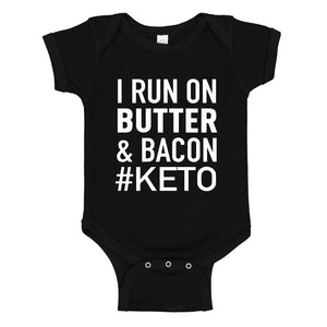 Baby Onesie I Run on Butter and Bacon 100% Cotton Infant Bodysuit