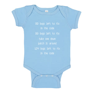 Baby Onesie 99 Bugs in the Code 100% Cotton Infant Bodysuit