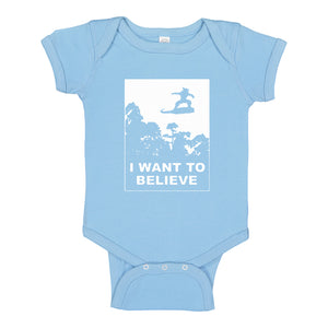 Baby Onesie I Want to Believe Nimbus Fighter 100% Cotton Infant Bodysuit