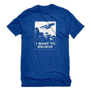 Mens I Want to Believe Space Ship Unisex T-shirt