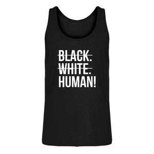 Mens Black. White. Human! Jersey Tank Top