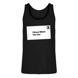 Mens I Know Where You Live Jersey Tank Top