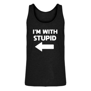 Mens I'm With Stupid Left Jersey Tank Top