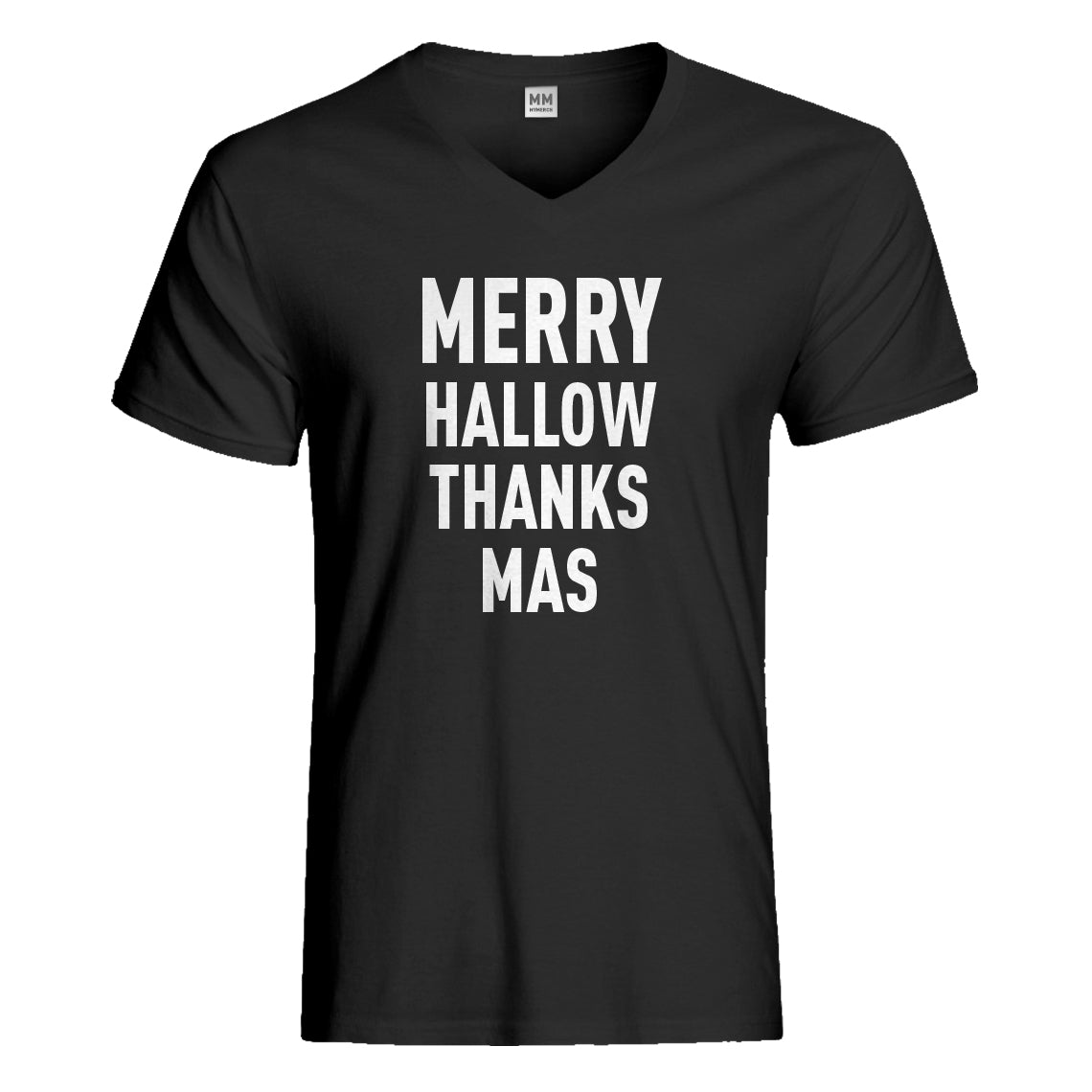 Mens Merry Hallow Thanks Mas Vneck T-shirt