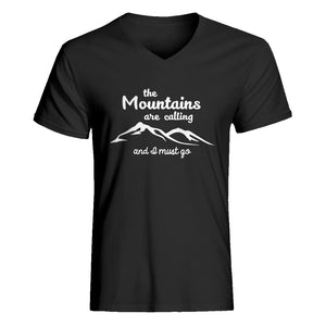 Mens The Mountains are Calling V-Neck T-shirt
