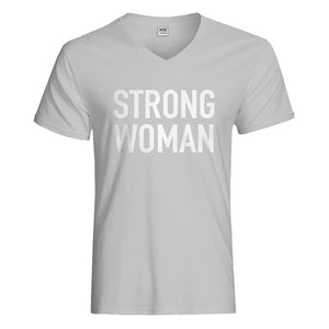 Mens Strong Woman Vneck T-shirt