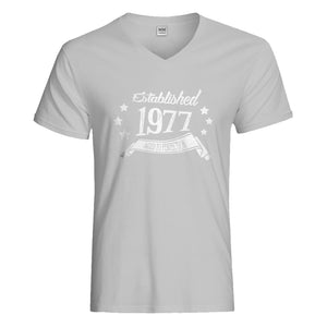Mens Established 1977 Vneck T-shirt