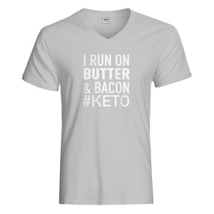 Mens I Run on Butter and Bacon Vneck T-shirt