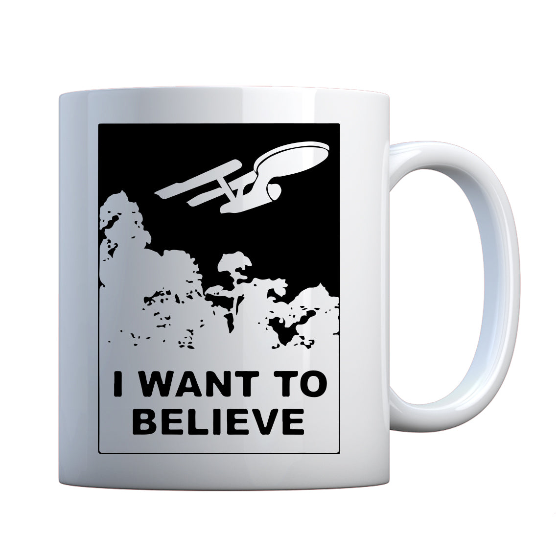I Want to Believe Space Ship Ceramic Gift Mug