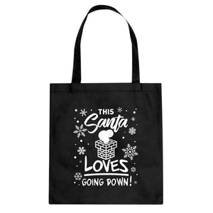 This Santa Loves Going Down Cotton Canvas Tote Bag