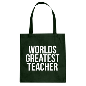 Tote Worlds Greatest Teacher Canvas Tote Bag