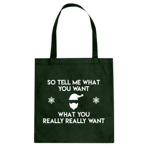 Tote Tell me what you want Canvas Tote Bag