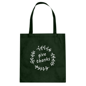 Give Thanks Cotton Canvas Tote Bag