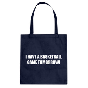 Basketball Game Tomorrow Cotton Canvas Tote Bag