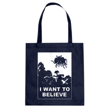I Want to Believe Flying Spaghetti Monster Cotton Canvas Tote Bag