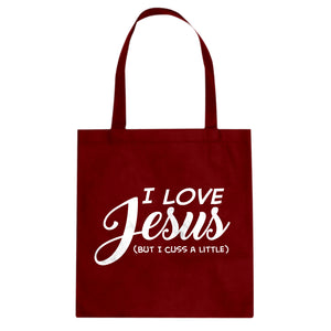 Tote I Love Jesus but I Cuss a Little Canvas Tote Bag
