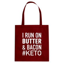 Tote I Run on Butter and Bacon Canvas Tote Bag