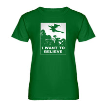 Womens I Want to Believe Fire Dragon Ladies' T-shirt