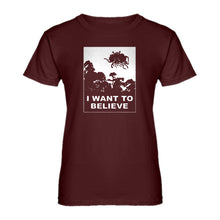 Womens I Want to Believe Flying Spaghetti Monster Ladies' T-shirt