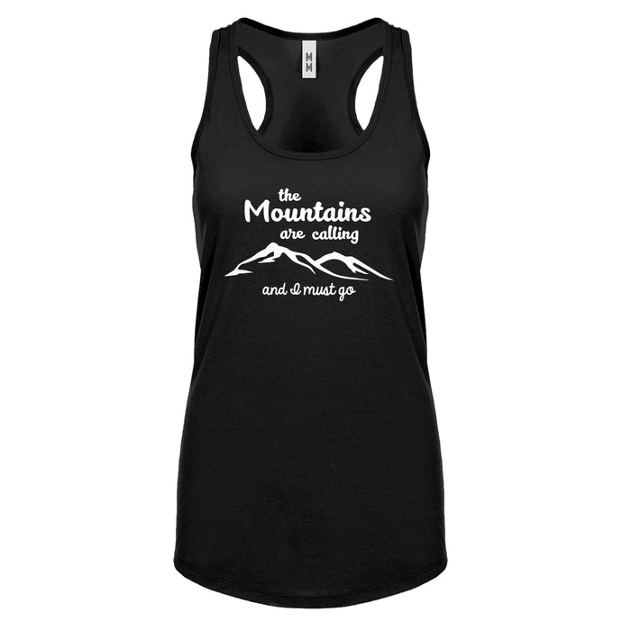 The Mountains are Calling Womens Racerback Tank Top