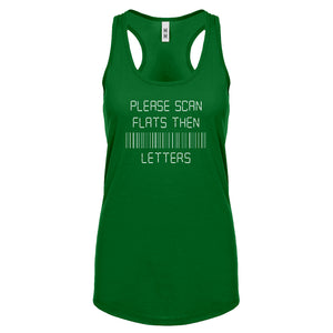 Racerback Please Scan Flats Then Letters Womens Tank Top