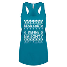 Racerback Dear Santa Define Naughty Womens Tank Top