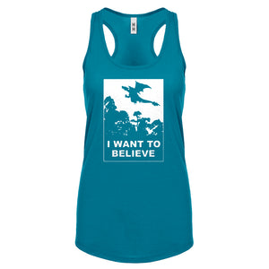 I Want to Believe Fire Dragon Womens Racerback Tank Top