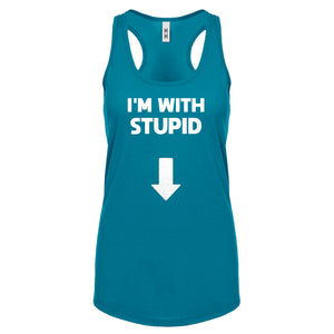 I'm with Stupid Down Womens Racerback Tank Top
