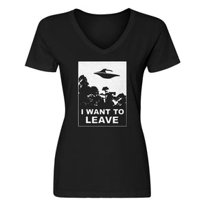 Womens I Want to Leave V-Neck T-shirt