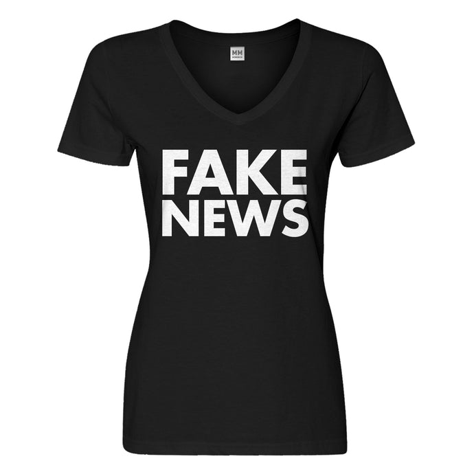 Womens FAKE NEWS Vneck T-shirt