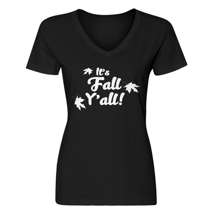 Womens It's Fall Y'all V-Neck T-shirt