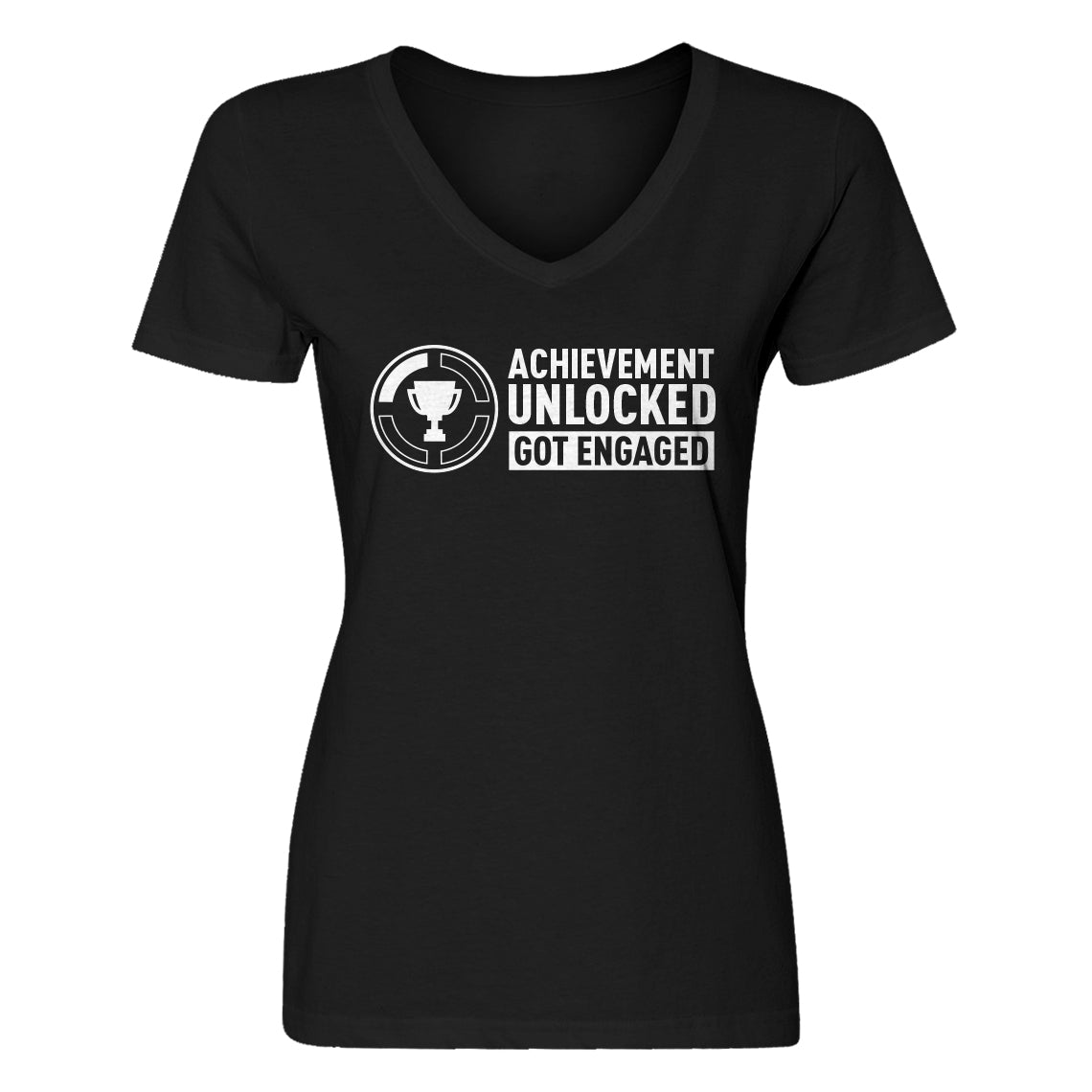 Womens Achievement Unlocked Got Engaged V-Neck T-shirt