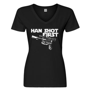Womens Han Shot First Vneck T-shirt