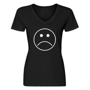 Womens Sad Face V-Neck T-shirt