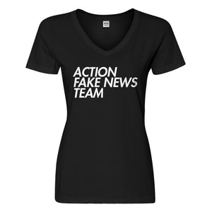 Womens Action Fake News Team Vneck T-shirt