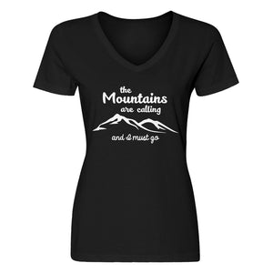 Womens The Mountains are Calling V-Neck T-shirt