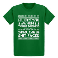 Youth He Sees Your When You're Drinking Kids T-shirt