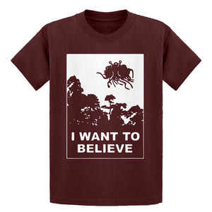 Youth I Want to Believe Flying Spaghetti Monster Kids T-shirt