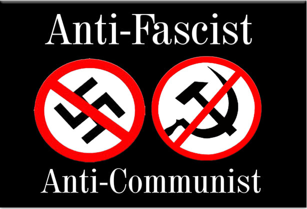 Anti Fascist Anti Communist Magnet by Libertarian Country