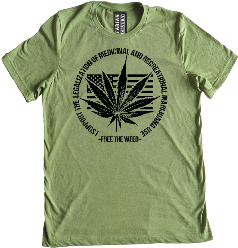 Free the Weed Legalize Marijuana Premium Dual Blend Tee by Libertarian Country