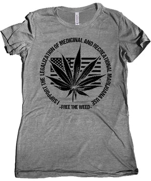 Free the Weed Legalize Marijuana Premium Women's Tee by Libertarian Country