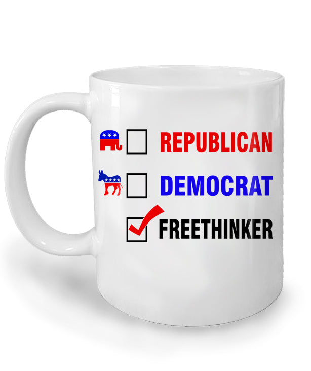 Freethinker Ceramic Mug by Libertarian Country