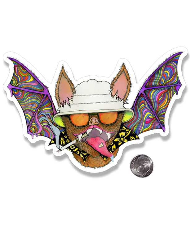 Hunter S. Thompson Psychedelic Bat Die Cut Sticker